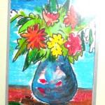 Malkarton, Blumenvase, Farbstifte, Ölstifte, Postkartengröße