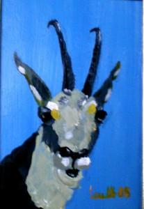 Ölmalerei, Gams, Öl, Malpappe, 14 x 10 cm