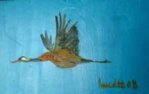 Ölmalerei, Ölbild, Kranich, Öl auf Malpappe, 10 x 15 cm