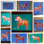 Acrylmalerei, Acrylbild, Dala Pferde