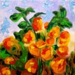 Acrylbild, Blumen, Physalis, Lampionblume, Acrylmalerei, Leinwand, 20 x 20 cm