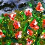 Acrylbild, Blumen, Malve, Acrylmalerei, Leinwand, 20 x 20 cm