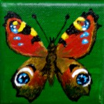 Acrylbild, Pfauenauge, Schmetterling, Acrylmalerei, Leinwand, 8 x 8 cm