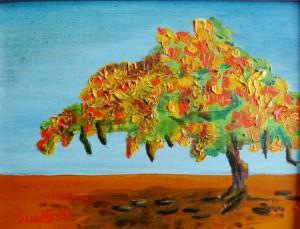 Stillleben, Flambouyant, Flammenbaum, Oelmalerei, Malpappe, 14 x 19 cm