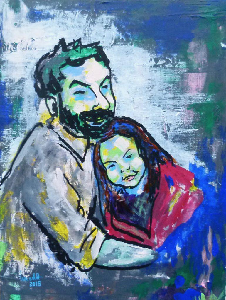 Vater und Tochter, Acryl, Portraet